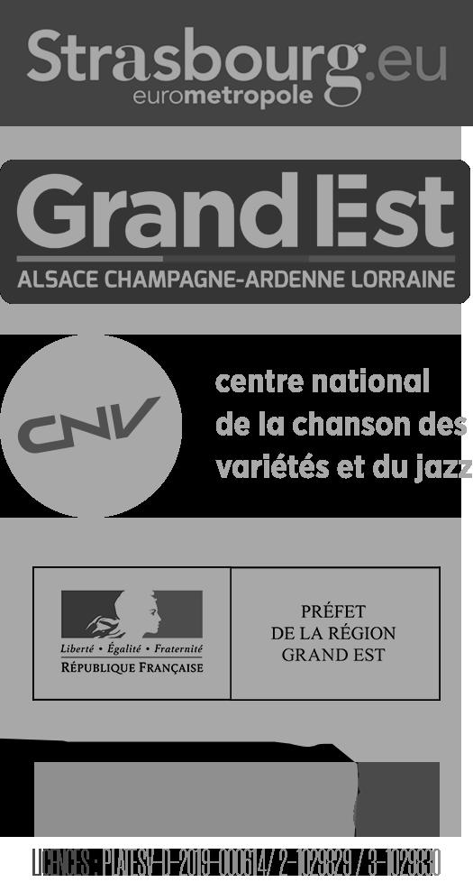 Nos Partenaires : Strasbourg.eu Eurométropole, Grand Est Alsace Champagne-Ardenne lorraine, CNV centre national de la chanson des variétés et du jazz, Préfet de la région Grand Est, Dirty8